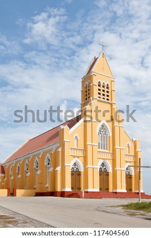 St. Willibrordus church in Curacao, Netherlands Antilles. Sint Willibrordus Roman Catholic church was built between 1884 and 1888 in the Neo-Gothic architectural style. - stock photo