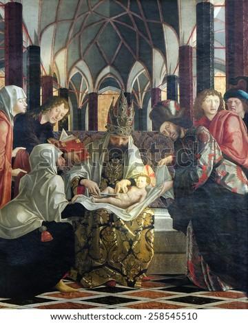 ST. WOLFGANG, AUSTRIA - DECEMBER 14: Circumcision of Jesus, main altar in Parish church in St. Wolfgang on Wolfgangsee in Austria on December 14, 2014. - stock photo