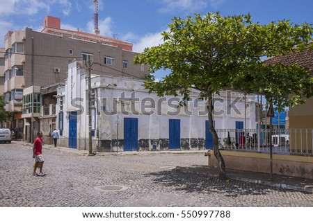 STA CATARINA ASSOMADA, SANTIAGO ISLAND, CAPE VERDE - SEPTEMBER 03, 2015: General view of the main street of the city, with the old cinema building