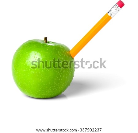 Stabbed Green Apple with Pencil - Isolated