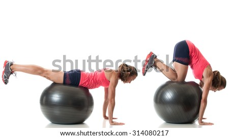 Stability ball exercise. Studio shot over white.