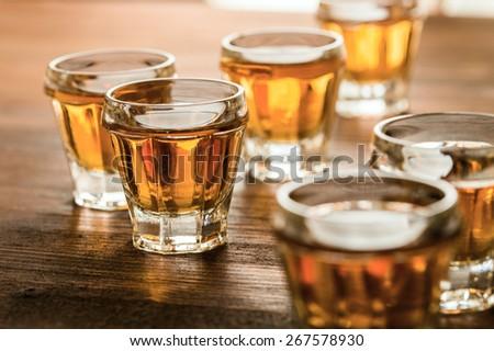 stack alcoholic beverage - stock photo