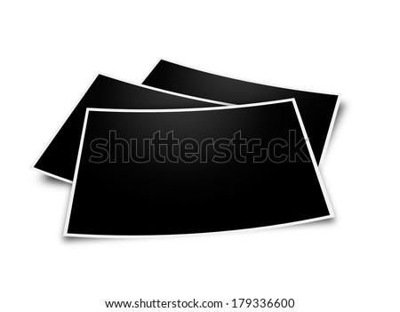 Stack blank photo isolated on white background. - stock photo