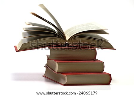 stack book on white isolated - stock photo
