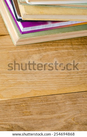 stack book on wooden table - stock photo