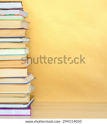 stack book on wooden table