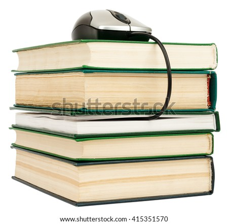 Stack books and computer mouse. Isolated on white - stock photo