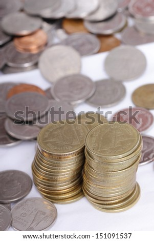Stack coin up with white background