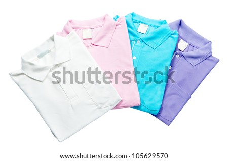 Stack colorful Polo  with clipping path - stock photo