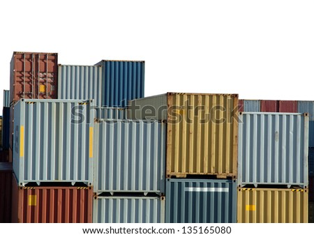 Stack containers isolated on harbor - stock photo