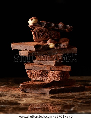 Stack dark chocolate