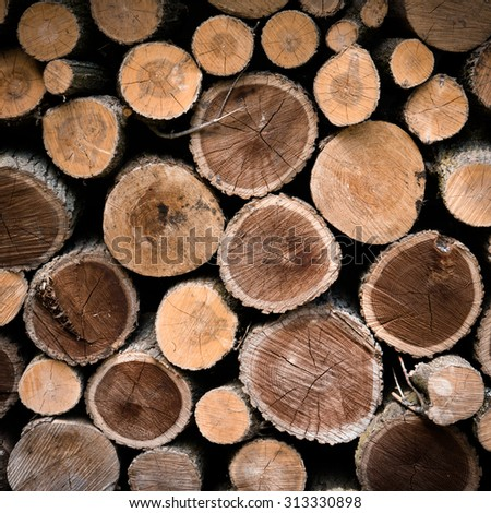 Stack Firewood with Filter Effect. - stock photo