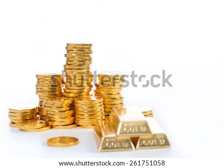 Stack golden coin growing up isolated with white background - stock photo