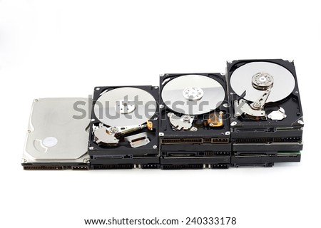 Stack harddisks top cover open - stock photo