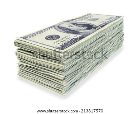 Stack 100 hundred dollars banknotes on white background - stock photo