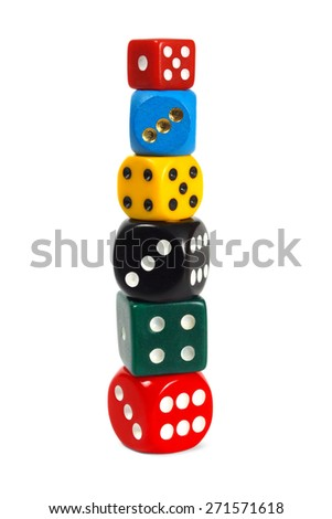 Stack made from dice isolated on white background