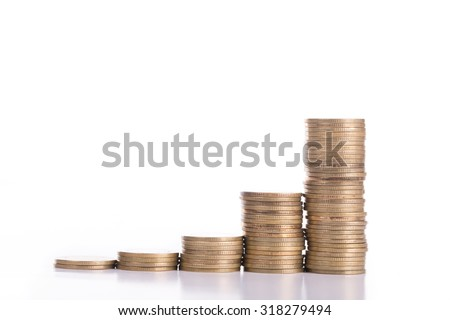 Stack money coin with white background.