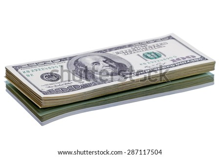 Stack new of $100 dollar bills. Isolated on white background - stock photo