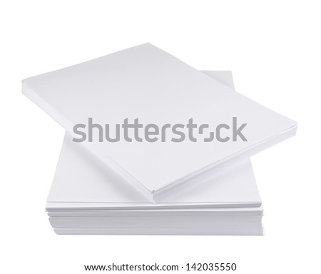 Stack of a4 size white paper sheet isolated over white background - stock photo