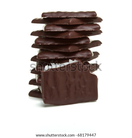 Stack of After Dinner mints isolated on white.