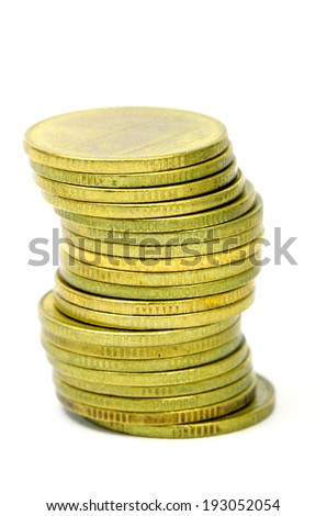 Stack of Ancient Gold Coins Isolated on White Background. - stock photo