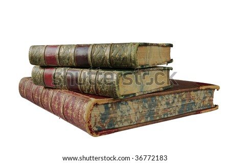 stack of antique books, isolated on white background, free copy space on the spines of the books - stock photo