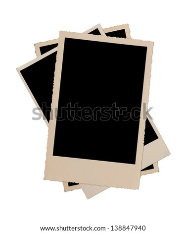 Stack of antique picture frames including clipping path. - stock photo