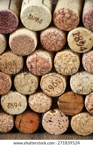 Stack of assorted wine corks close-up. - stock photo
