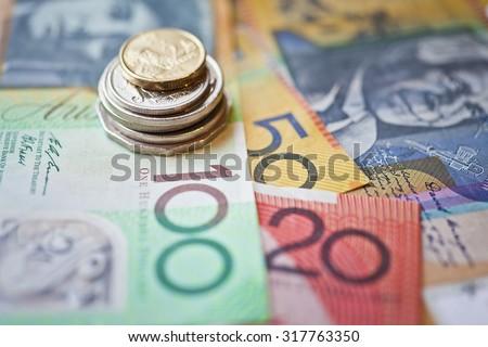 Stack of Australian dollars - stock photo