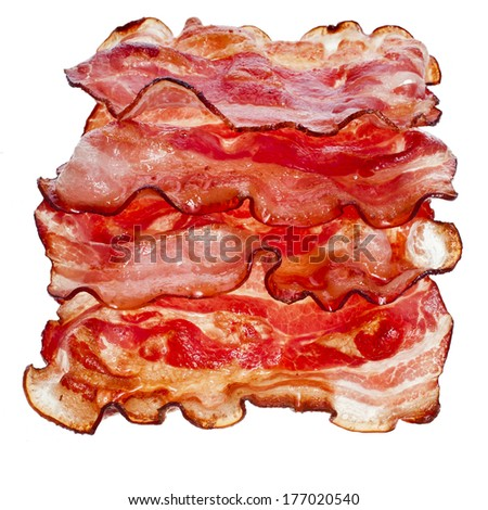 Stack of Bacon Fried Slices  isolated On White Background  - stock photo