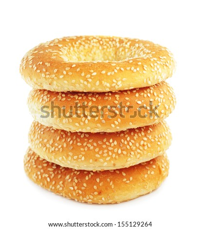 Stack of bagels with sesame seeds - stock photo