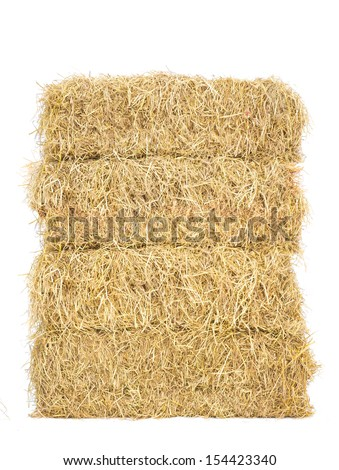 stack of bale hay straw isolate on white background - stock photo