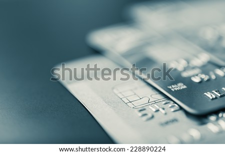 Stack of bank cards - stock photo