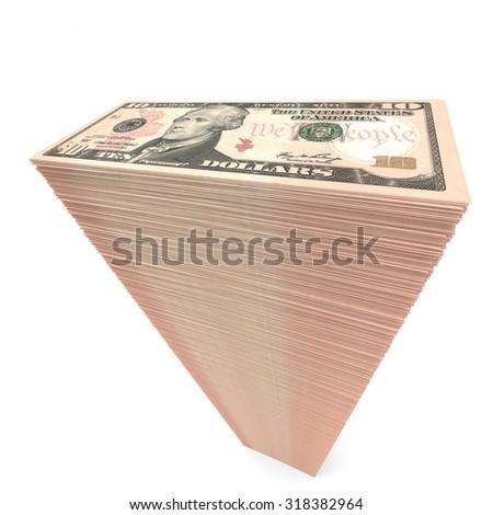Stack of banknotes. Ten dollars. 3D illustration. - stock photo