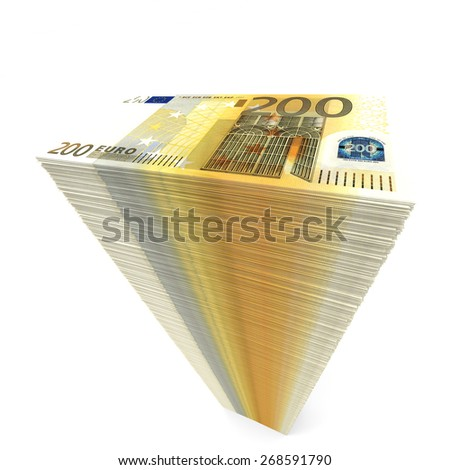 Stack of banknotes. Two hundred euros. 3D illustration. - stock photo