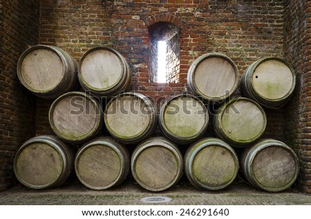 Old Wooden Barrels Pilled Stack Stock Photo 129647615