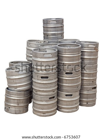 Stack of beer kegs isolated on white - stock photo