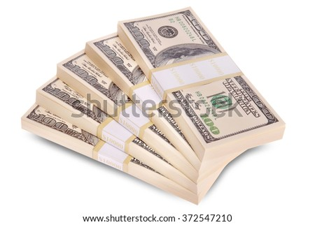 Stack of $100 bills arranged in stairs form. Isolated on white. Clipping path included. - stock photo