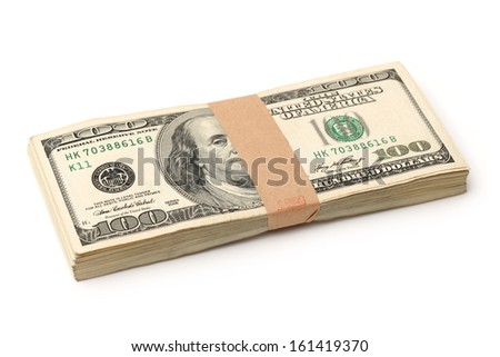 Stack of $100 bills on white background - stock photo