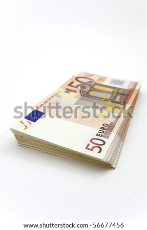 Stack of 50â?¬ bills on white background - stock photo