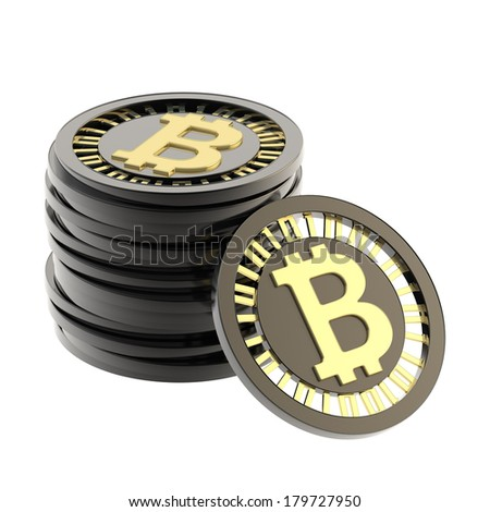 Stack of bitcoin peer-to-peer digital currency coins made of black plastic and gold with a single coin next to it, isolated over white background - stock photo