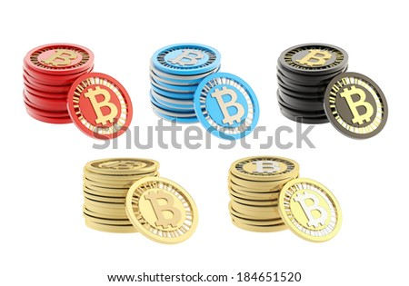 Stack of bitcoin peer-to-peer digital currency coins with a single coin next to it, isolated over white background, set of five different color options - stock photo