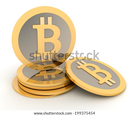 Stack of bitcoins isolated on white. Conception of electronic earnings.  - stock photo