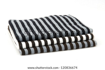 Stack Black White Striped Towels Isolated Stock Photo 120836674