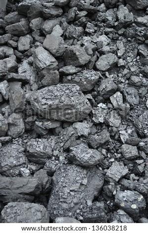 stack of black coal - stock photo