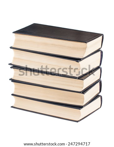Stack of black cover books isolated on white background