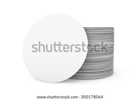 Stack of Blank Beer Coasters on a white background - stock photo