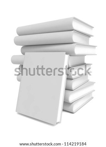Stack of Blank Books. Isolated on White Background. - stock photo