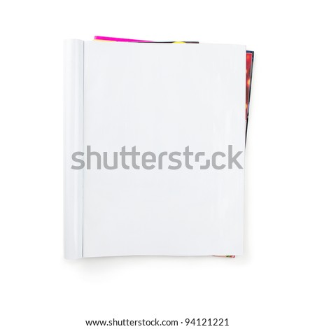 Stack of blank magazines isolated on white background with clipping path - stock photo