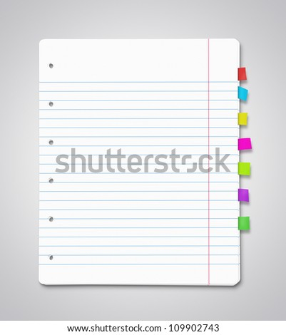 Stack of blank paper sheets with many colorful bookmarks